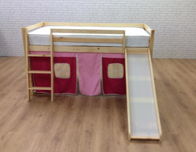Cabin Bed With Slide Pink Castle Undertent In
