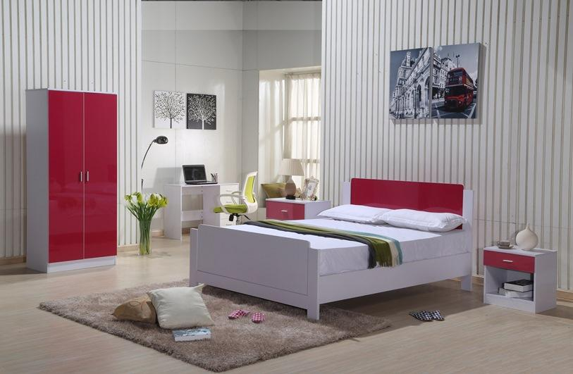 High Gloss Bedroom Furniture Set Red White Wardrobe Chest Drawers Bedside New  eBay