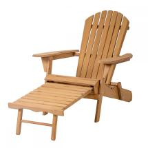 Outdoor Wood Adirondack Chair Foldable With Pull Ottoman