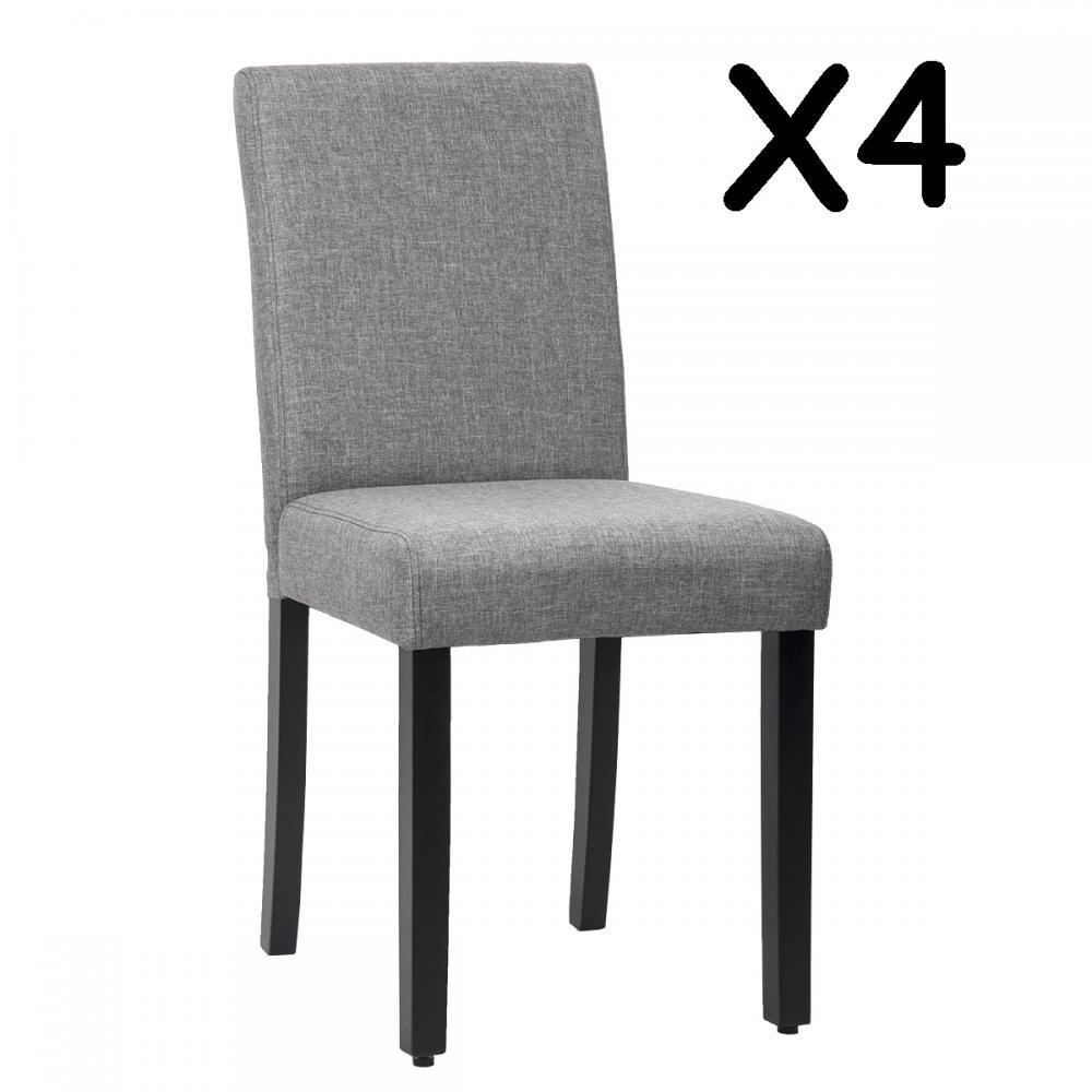 New Set of 4 Grey Elegant Design Modern Fabric Upholstered