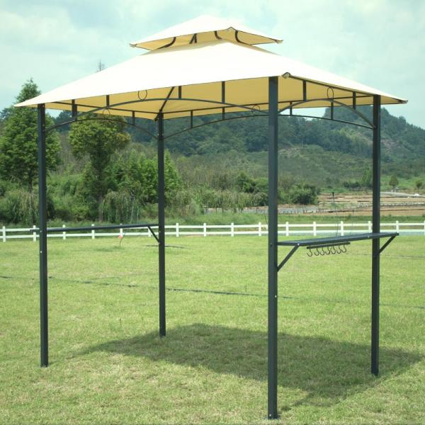 Tan 8'x 5'bbq Grill Gazebo Barbecue Canopy Bbq Tent With Air Vent F85