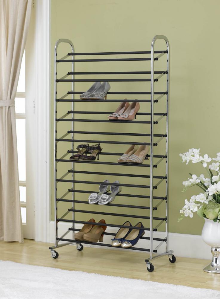 50 Pair Shoe Rack Storage Organizer 10 Tier Chorme Shoe