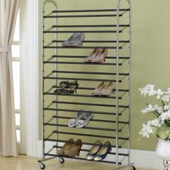 Kitchen Safe Shoes Complete Cabinet Packages 50 Pair Shoe Rack Storage Organizer 10 Tier Chorme ...