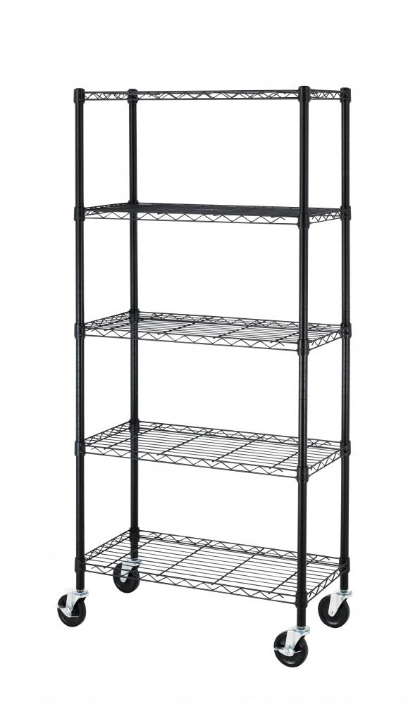 5 Shelf Black Steel Wire Shelving 30 by 14 by 60-Inch