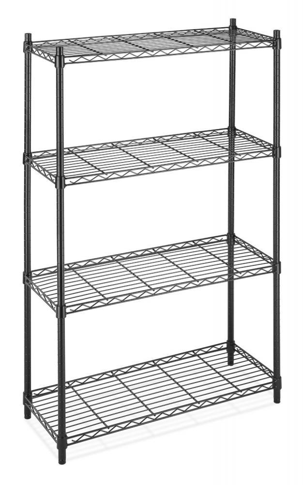Black Storage Rack 4tier Organizer Kitchen Shelving Steel