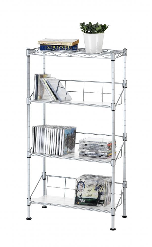 New Silver 4-Tier Media Rack CD Rack Stand Racks Organizer