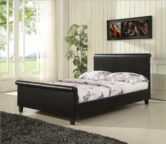 New York Double Leather Bed Frame With Mattress
