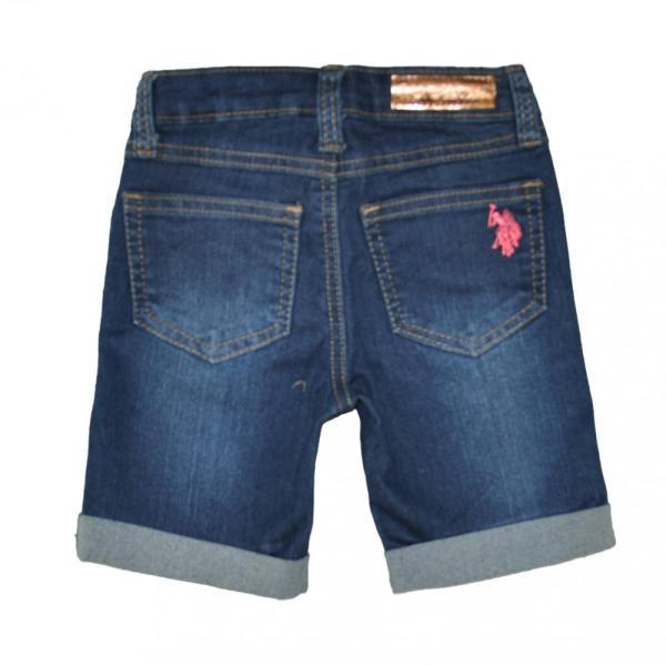 Polo Assn Toddler Little Girls' Sateen Denim Bermuda Shorts 2t 3t 4t 4 5 6 6x