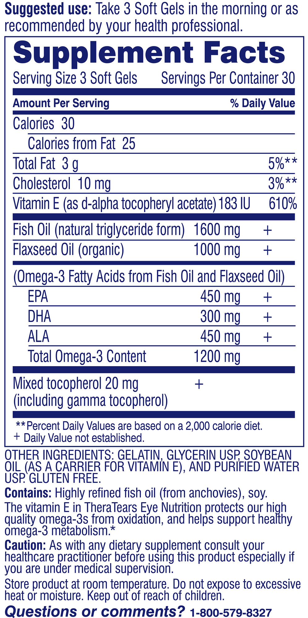 TheraTears Nutrition Omega-3 Supplement with Vitamin E ...