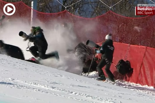 Skier Crashes Into Photographer at Winter Olympics