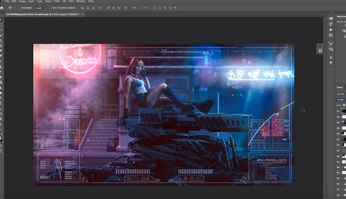 Create a Cyberpunk Scene on Photoshop