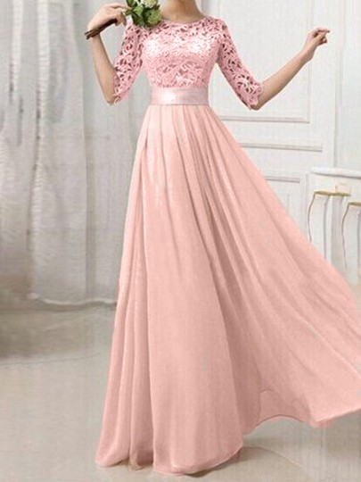 Blush Pink Patchwork Lace Pleated Half Sleeve Chiffon Maxi