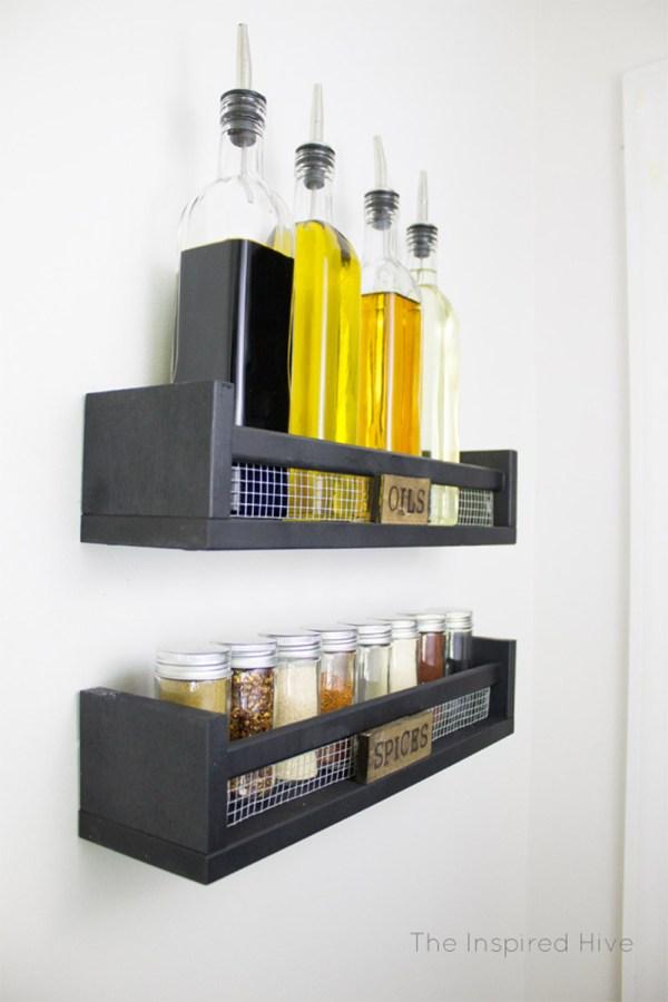 DIY Wall Mounted Spice Rack