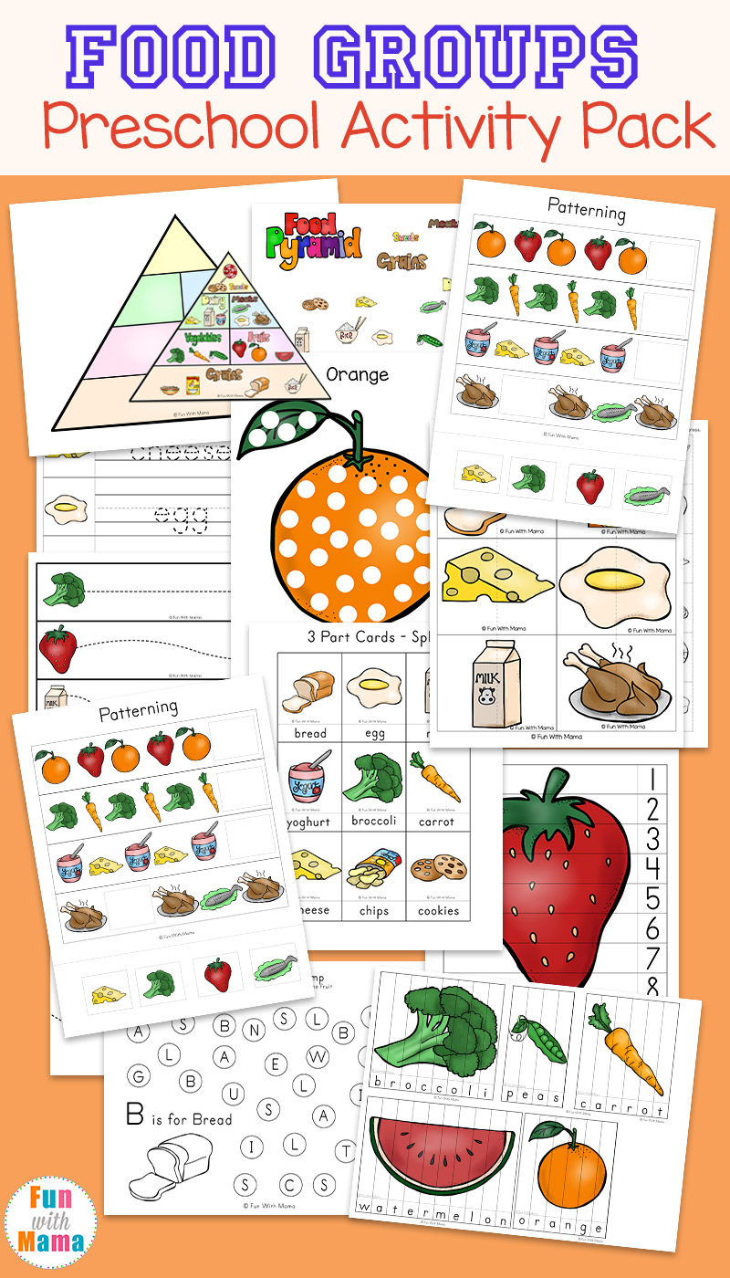 medium resolution of Food Groups Preschool Activity Pack - Fun with Mama