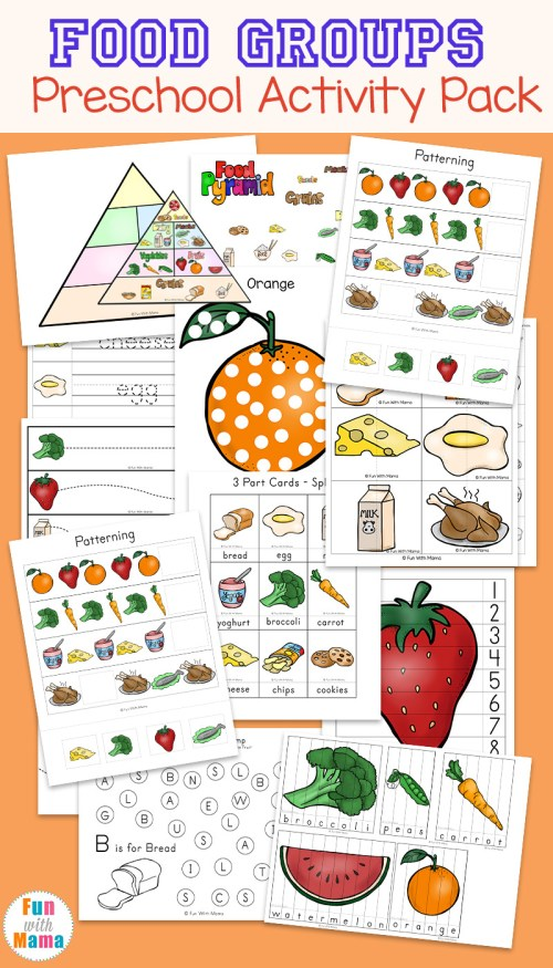 small resolution of Food Groups Preschool Activity Pack - Fun with Mama