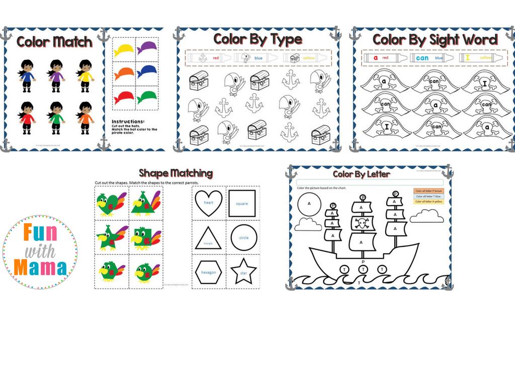 Pirate Theme Printable Preschool Pack