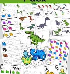 Dinosaur Preschool Printable Pack - Fun with Mama [ 1400 x 800 Pixel ]