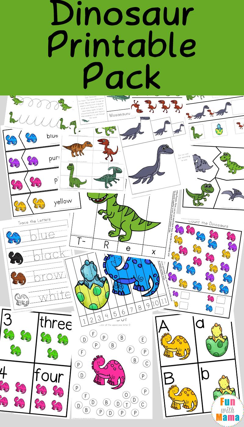 medium resolution of Dinosaur Preschool Printable Pack - Fun with Mama