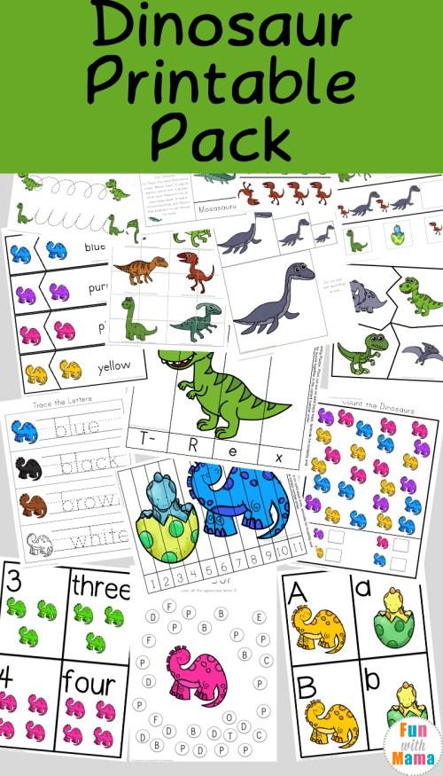 small resolution of Dinosaur Preschool Printable Pack - Fun with Mama