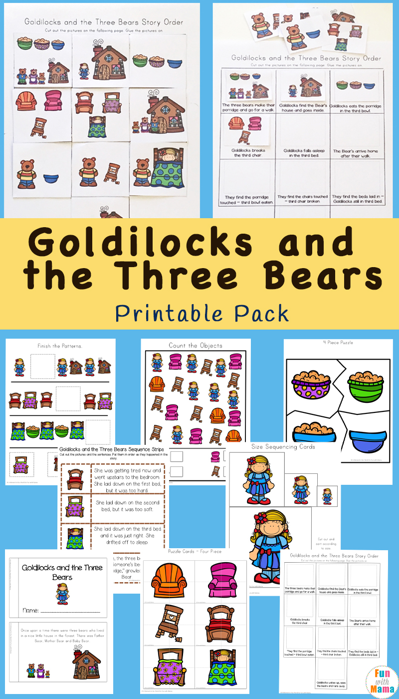 hight resolution of Goldilocks And The Three Bears Printable Pack - Fun with Mama