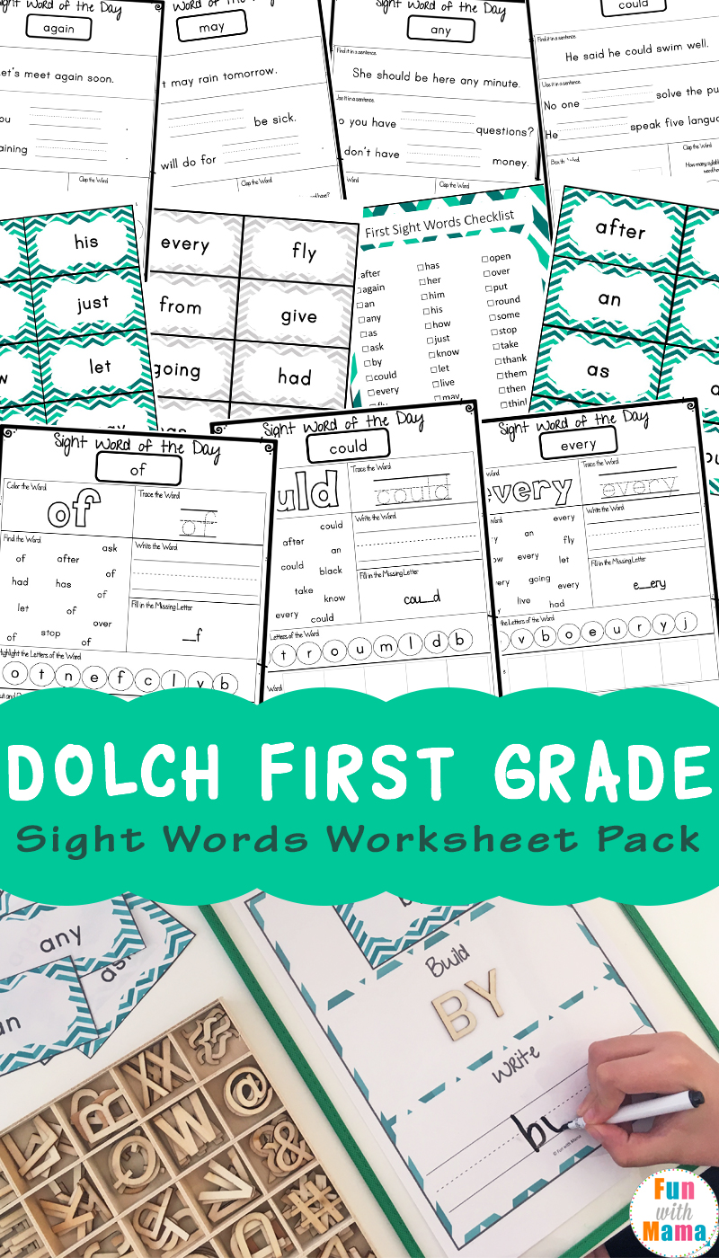 medium resolution of Dolch First Grade Sight Words Worksheets - Fun with Mama
