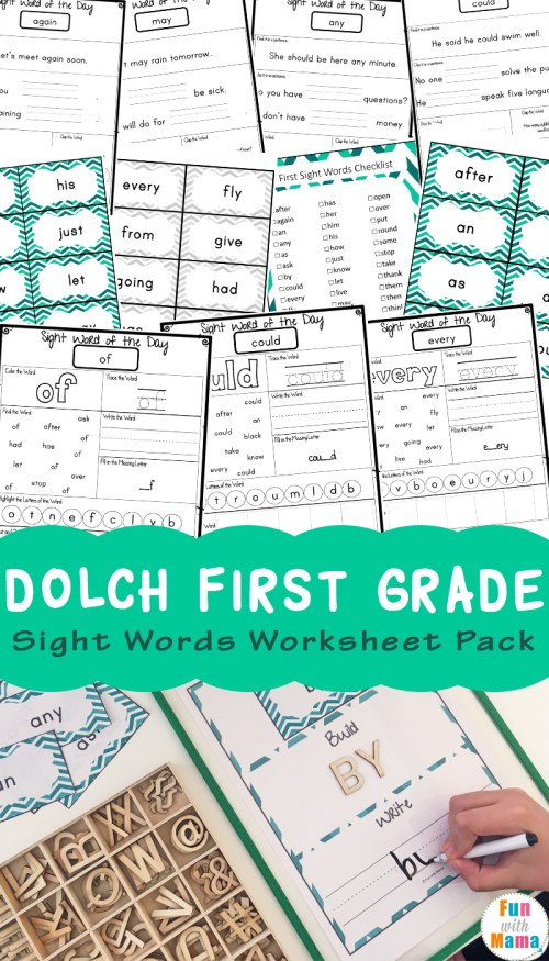 small resolution of Dolch First Grade Sight Words Worksheets - Fun with Mama
