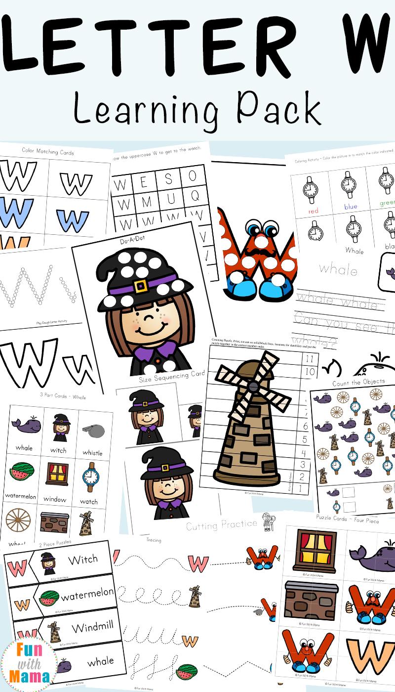 Letter W W Ksheets Preschool K Derg Rten Fun With M M