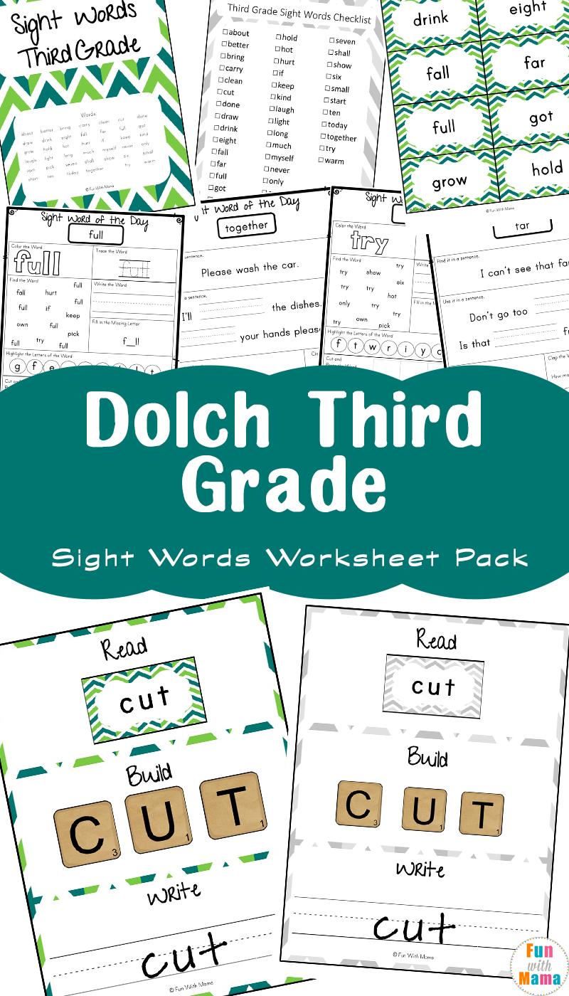 medium resolution of Free Dolch Third Grade Sight Words Worksheets - Fun with Mama