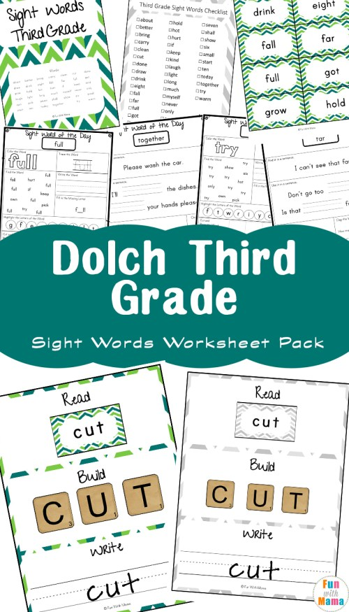 small resolution of Free Dolch Third Grade Sight Words Worksheets - Fun with Mama