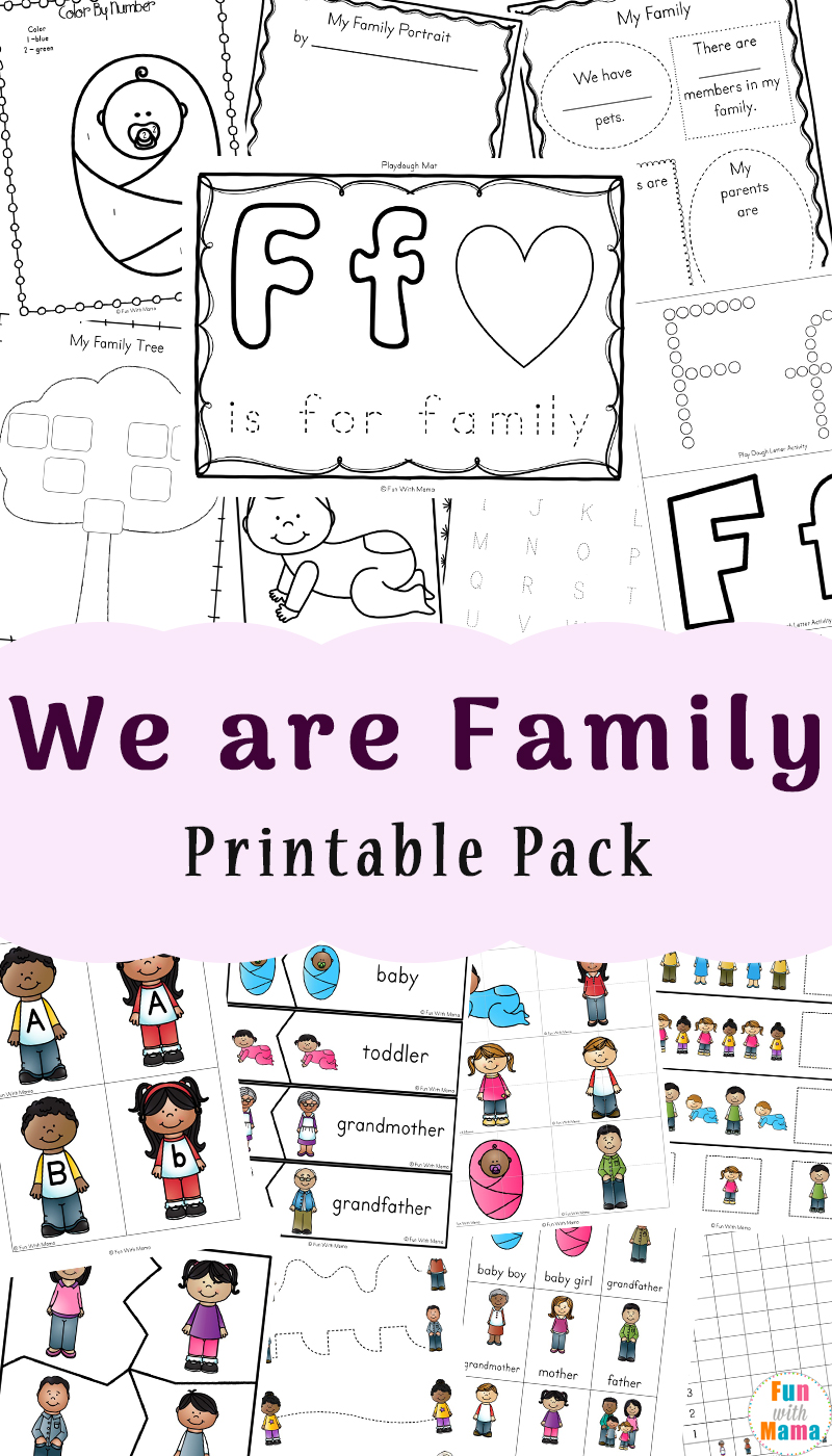 medium resolution of Family Theme Preschool and Family Worksheets For Kindergarten - Fun with  Mama