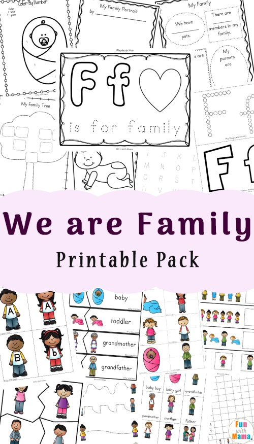 small resolution of Family Theme Preschool and Family Worksheets For Kindergarten - Fun with  Mama