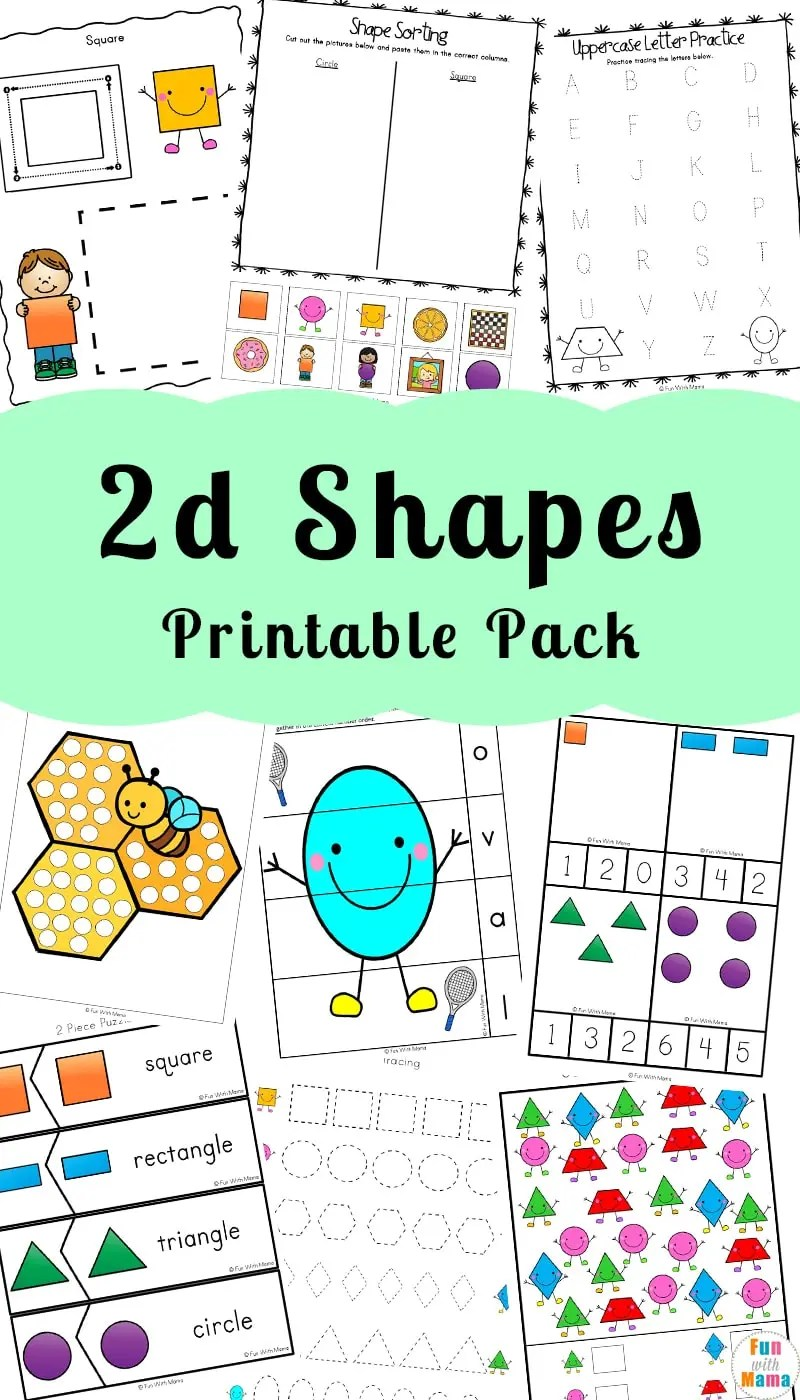 medium resolution of 2D Shapes Worksheeets - Fun with Mama