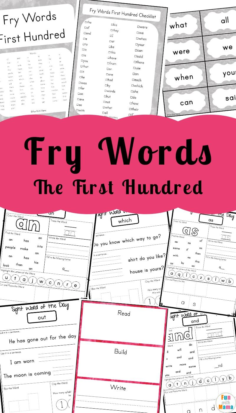hight resolution of Kindergarten Sight Words - Fun with Mama