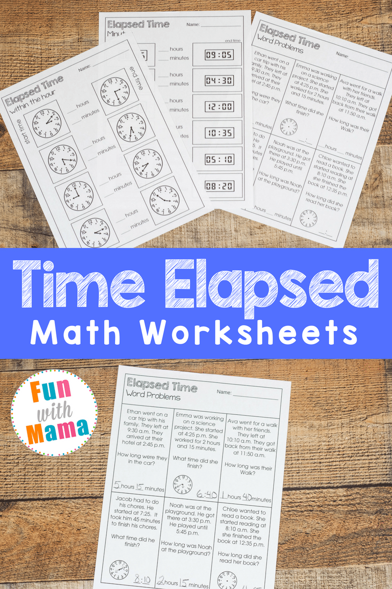 medium resolution of Elapsed Time Worksheets - Fun with Mama
