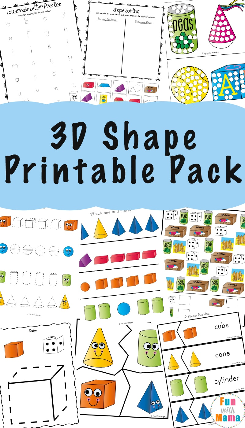 medium resolution of 3D Shape Worksheets - Fun with Mama