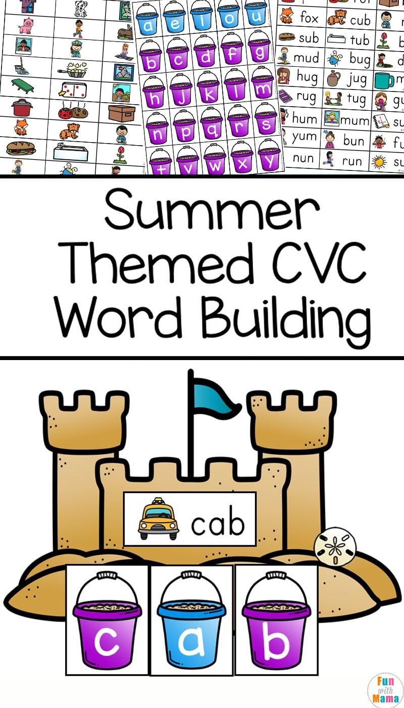 medium resolution of Summer Themed CVC Word Building - Fun CVC Words Worksheets - Fun with Mama