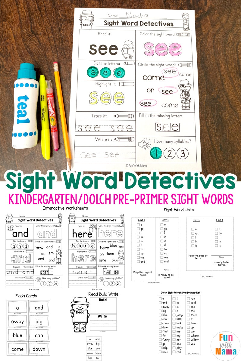 medium resolution of Pre K Sight Words Worksheets - Fun with Mama