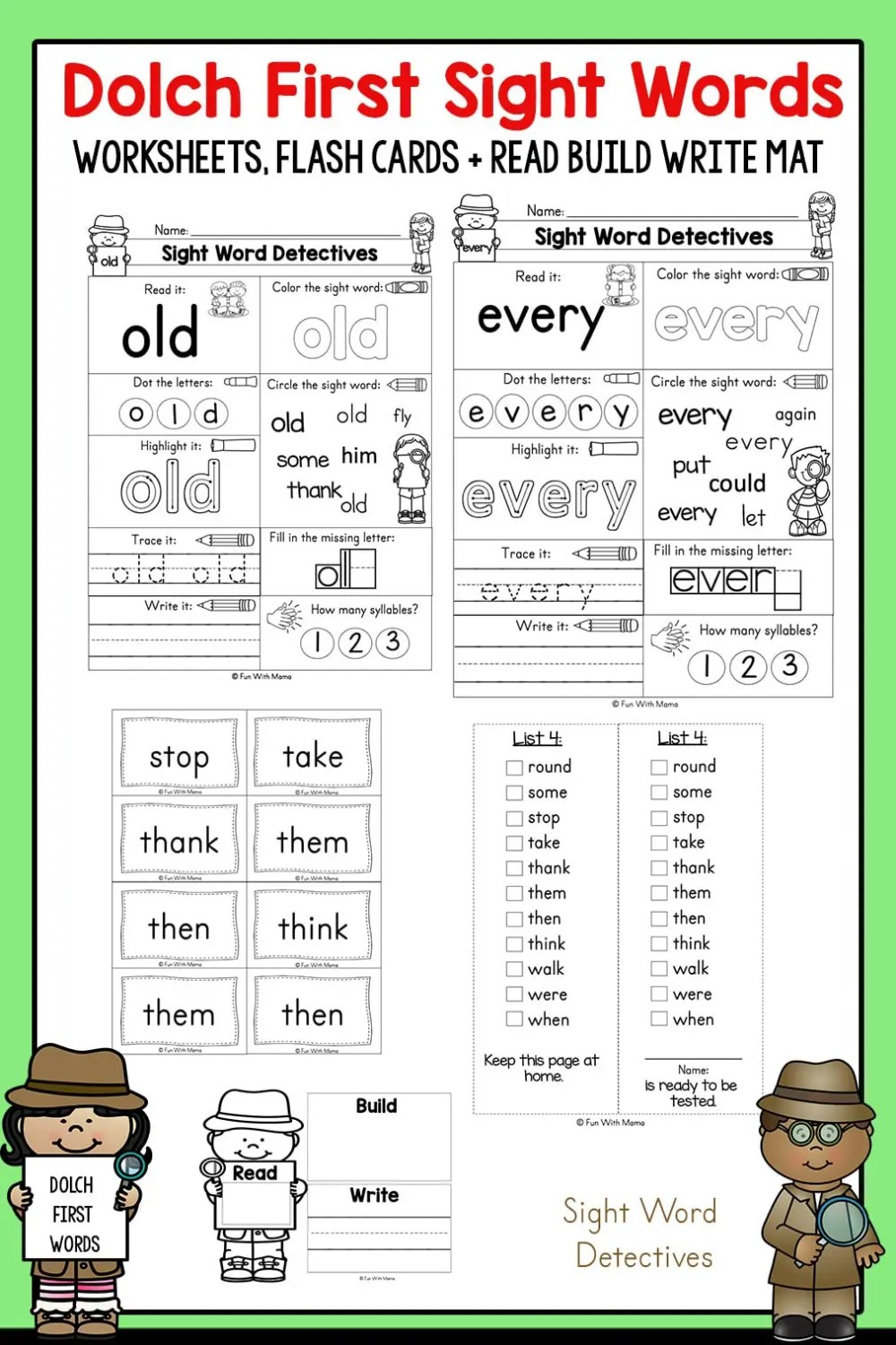 medium resolution of First Grade Sight Words - Interactive Worksheets for Learning - Fun with  Mama