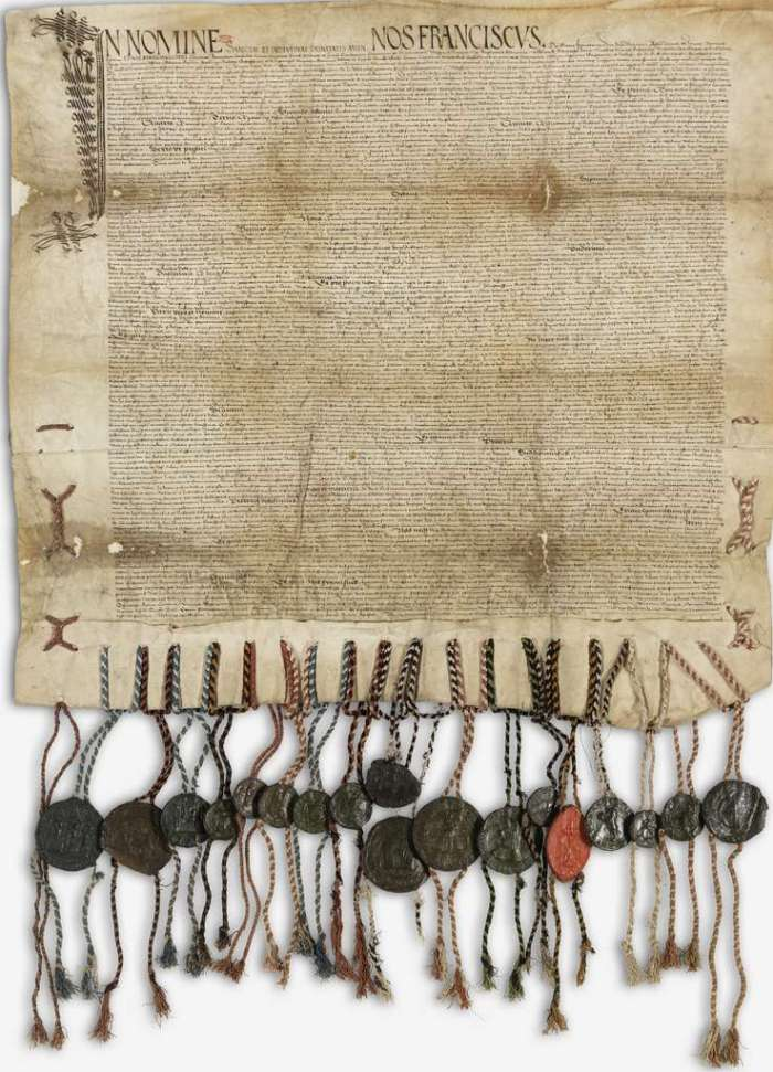 Treaty of Perpetual Peace of Friborg, signed in 1516 between the thirteen Swiss cantons and the King of France.  Copy in Latin kept in the National Archives of France.  © Wikimedia Commons, public domain