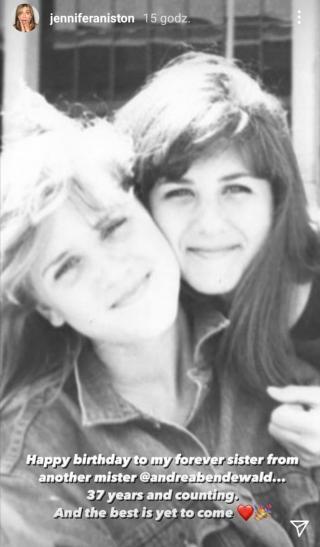Jennifer Aniston with a friend