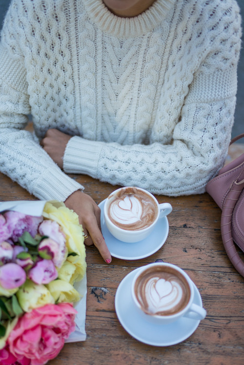 Knit sweaters and coffee