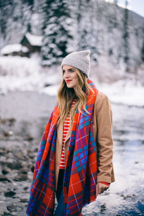Fashion Bloggers Gal Meets Glam Colorful Plaid Scarf Gray Beanie Jeans and Tan Jacket Winter Wonderland