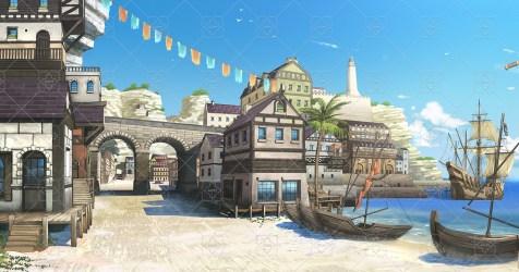 Seaside Port City High Quality Parallax Background GameDev Market