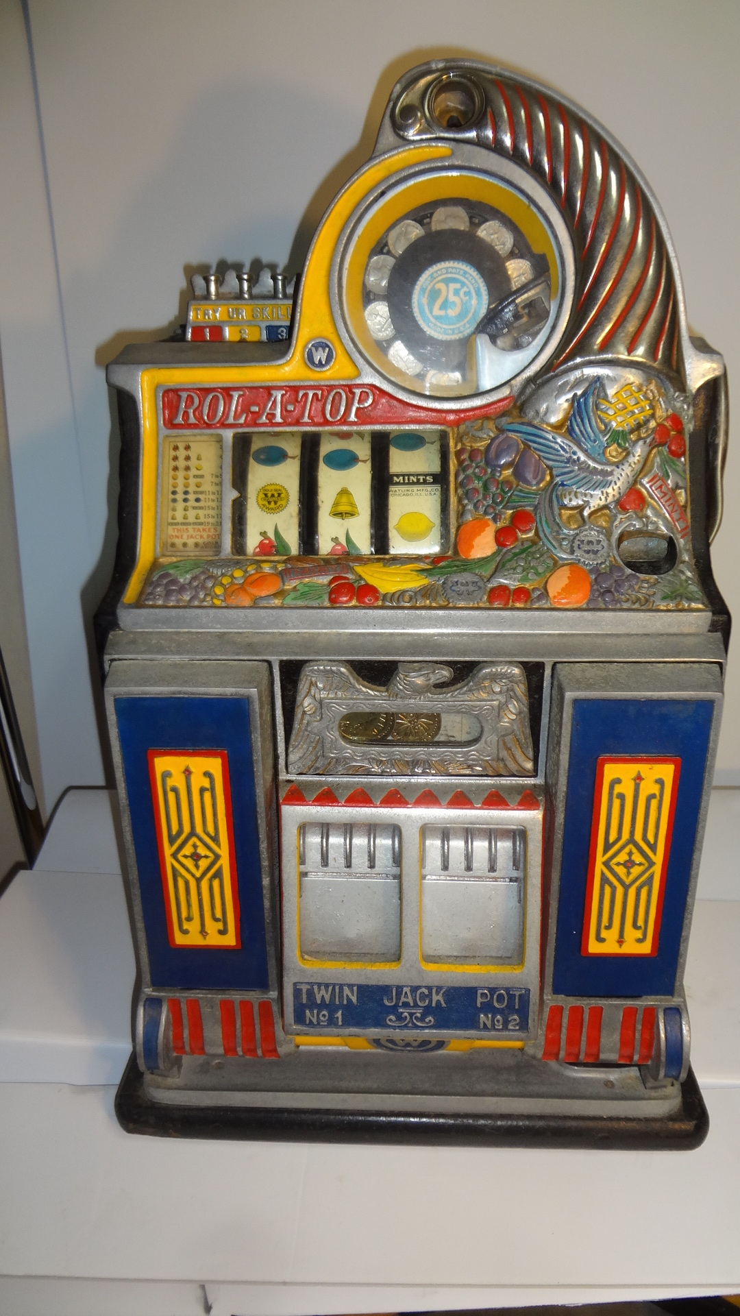"25 Cent Watling Rolatop ""bird Of Paradise"" Slot Machine"