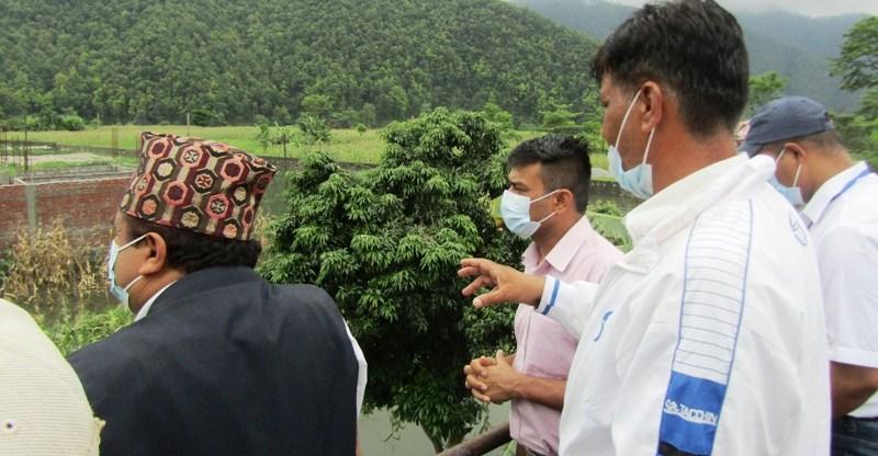 पोखरा ३२ कालिकानगर डुबानमा, निकासका लागि प्रदेश सांसद कोइरालाको पहल
