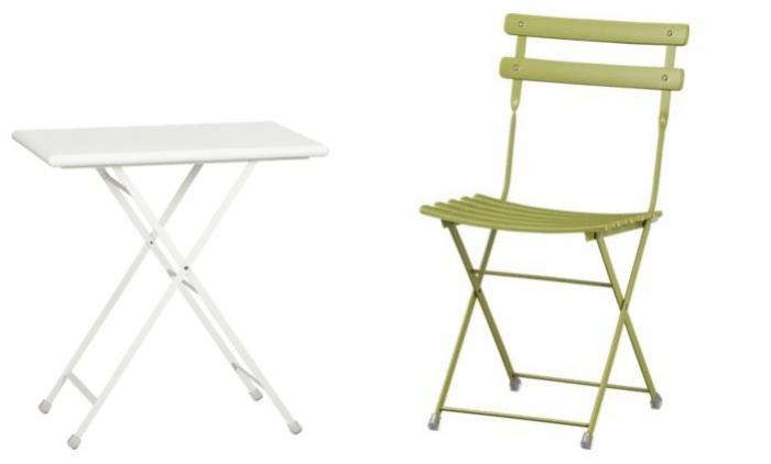 folding chair rubber feet leather cigar 10 easy pieces outdoor bistro table and sets gardenista above a pronto small 199 99 apiece are made of metal coated with weather resistant finish
