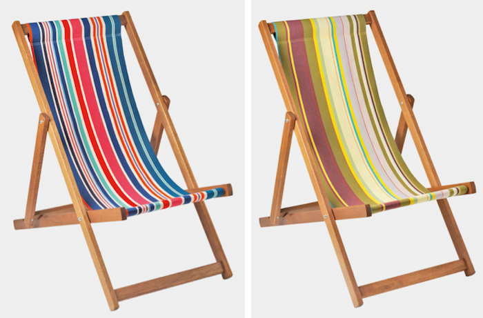 outdoor chair fabric adirondack cake topper 10 easy pieces lounge chairs in color gardenista above the selsey deckchair is made england of woven cotton for 99 each from toast us loungers a similar french beechwood deck