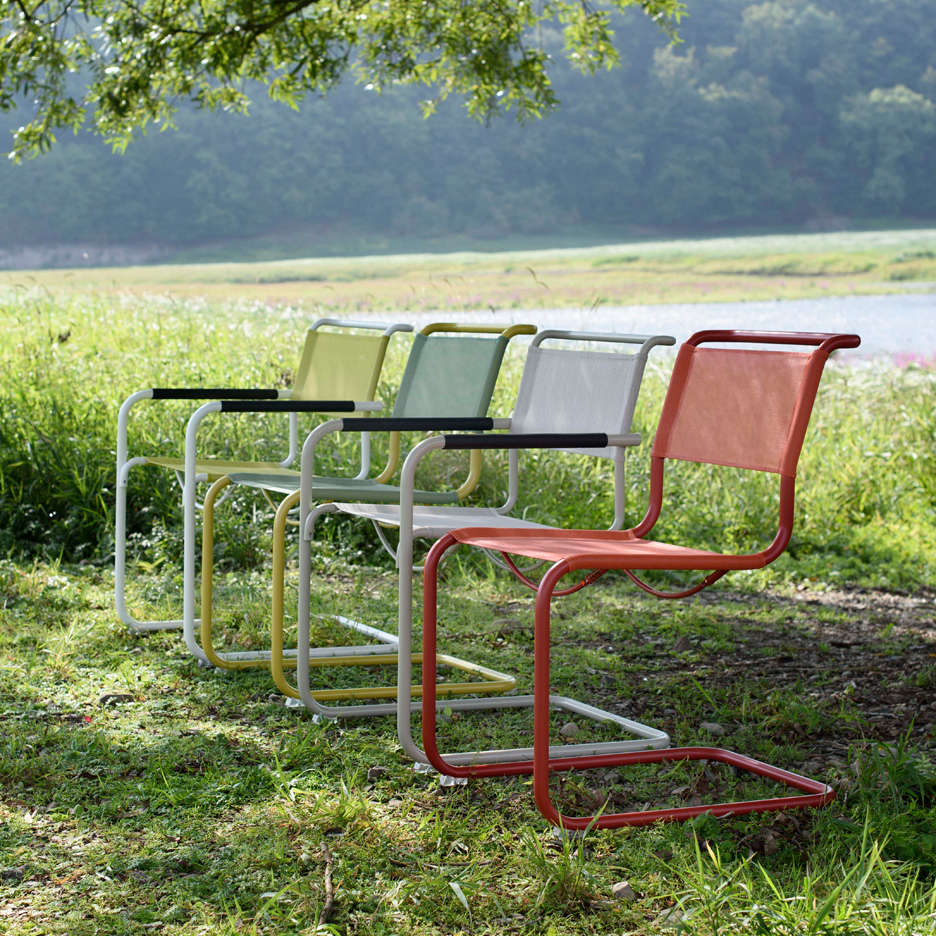 all weather garden chair pet high outdoor furniture new classics from thonet gardenista above made of the same polished tubular steel as s indoor chairs seasons collection will be treated with a resistant