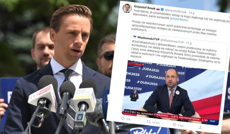 """PiS rozpowszechnia plotkę w TVP, że Konfederacja popiera Dudę. Bosak: """"Kłamstwo i manipulacja""""."""