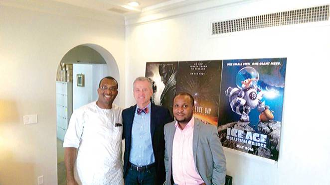 Image result for Group MD/CEO, FilmHouse Cinema and FilmOne Distribution, Mr. Kene Mkparu; President, Worldwide Theatrical Marketing and Distribution, Mr. Paul Hanneman and Group Executive Director, COO FilmHouse Cinemas and FilmOne Distribution, Mr. Moses Babatope at the recent signing of MoU with 20th Century Fox (Photo: Guardian)